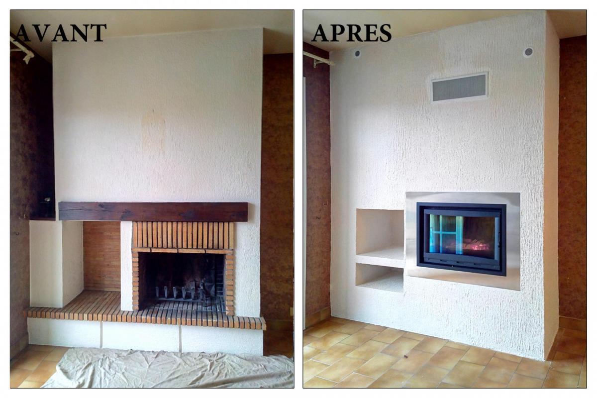 Chemin e foyer ouvert chauffage id transformer cheminee ouverte en foyer ferme - Relooker une cheminee avant apres ...